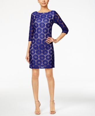 Jessica Howard Illusion-Sleeve Lace Sheath Dress