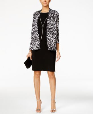 Jessica Howard Petite Necklace Dress and Printed Jacket