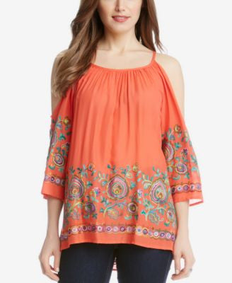 Karen Kane Embroidered Cold-Shoulder Peasant Top