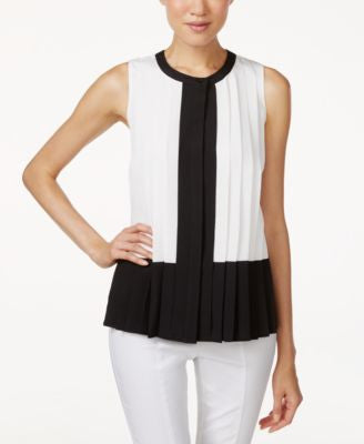 Calvin Klein Pleated Colorblocked Blouse