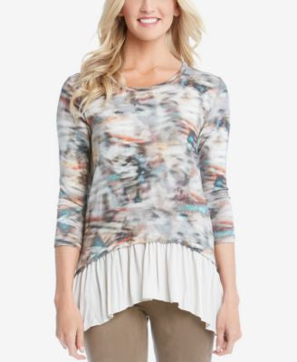 Karen Kane Layered-Look Printed Peplum Top