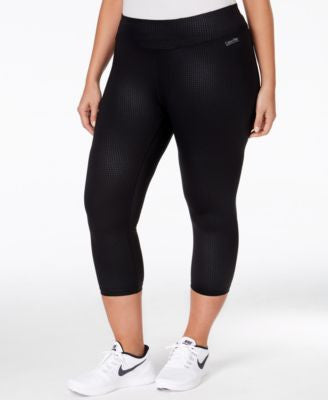 Calvin Klein Performance Plus Size Embossed Cropped Active Leggings