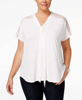 NY Collection Plus Size Lace-Embellished Tie-Neck Blouse
