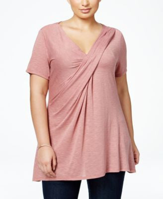 NY Collection Plus Size Heathered Surplice Top