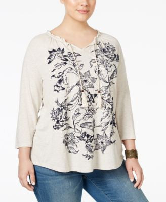Style & Co. Plus Size Embroidered Peasant Top, Only at Vogily