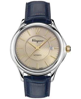 Ferragamo Women's Swiss Automatic Time Blue Leather Strap Watch 41mm FFT01 0016