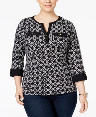 Charter Club Plus Size Printed Henley Top, Only at Vogily