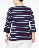 Charter Club Plus Size Striped Henley Top, Only at Vogily