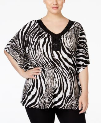 JM Collection Plus Size Embellished Zebra-Print Blouse, Only at Vogily