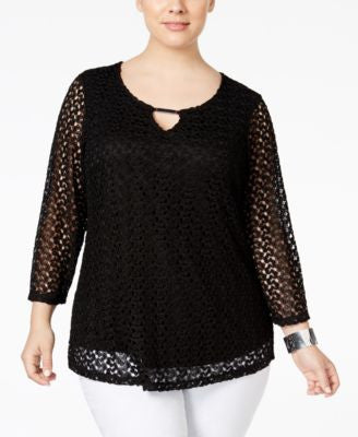 JM Collection Plus Size Crocheted Keyhole Blouse, Only at Vogily