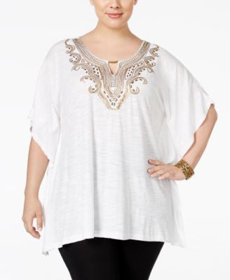 JM Collection Plus Size Embellished Keyhole Poncho, Only at Vogily
