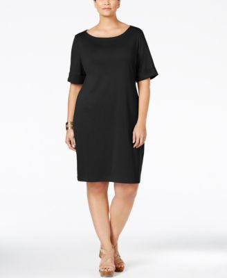 Karen Scott Plus Size Boat-Neck T-Shirt Dress, Only at Vogily