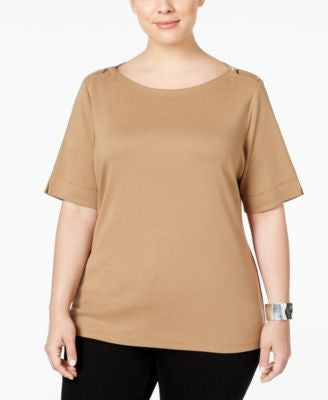 Karen Scott Plus Size Boat-Neck Zipper Top, Only at Vogily