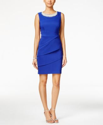 Connected Embellished Tiered Sheath Dress