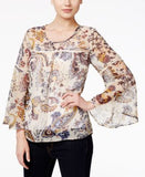 Style & Co. Bell-Sleeve Crochet-Trim Printed Sheer Top, Only at Vogily