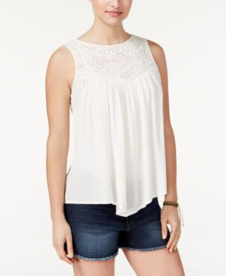 American Rag Crochet-Trim Handkerchief-Hem Tank Top, Only at Vogily