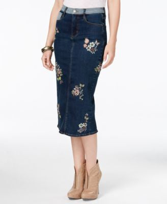 Buffalo David Bitton Embroidered Denim Skirt