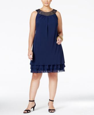 SL Fashions Plus Size Embellished Shift Dress