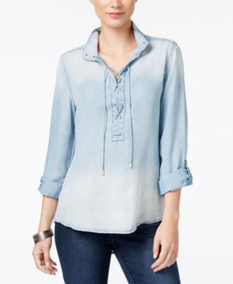 Vintage America Lace-Up Denim Shirt
