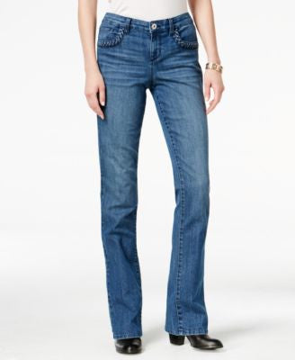 Style & Co. Petite Braided-Trim Myrtle Wash Bootcut Jeans, Only at Vogily