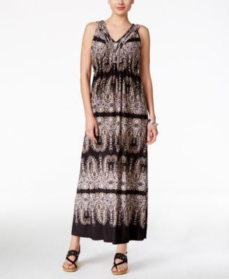 Style & Co. Petite Printed V-Neck Maxi Dress, Only at Vogily