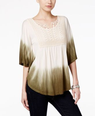 Style & Co. Dip-Dyed Crochet-Bib Top, Only at Vogily