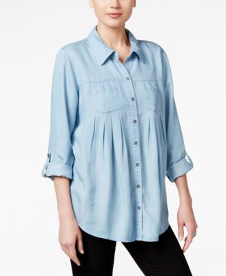 Style & Co. Denim Tab-Sleeve Shirt, Only at Vogily