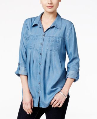 Style & Co. Petite Denim Tab-Sleeve Shirt, Only at Vogily