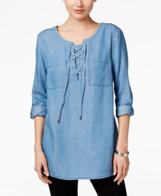Style & Co. Petite Lace-Up Denim Top, Only at Vogily