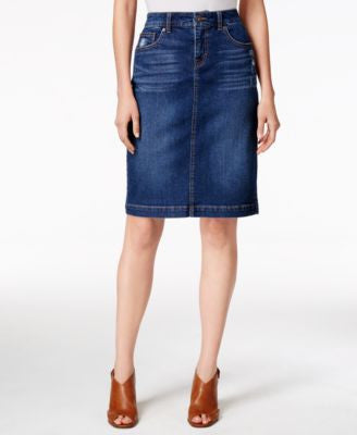 Style & Co. Denim Tummy-Control Pencil Skirt, Only at Vogily