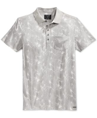 GUESS Men's Stream Cloudy Graphic-Print Pocket Polo
