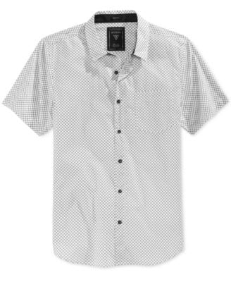 GUESS Men's Diamond Grid Short-Sleeve Shirt