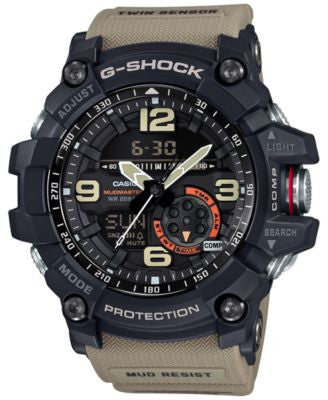 G-Shock Men's Analog-Digital Mudmaster Twin Sensor Khaki Strap Watch 56x55mm GG1000-1A5