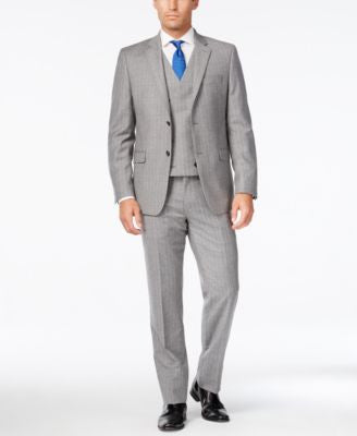 Lauren Ralph Lauren Men's Slim-Fit Ultraflex Light Grey Pinstripe Vested Suit