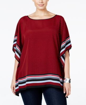 MICHAEL Michael Kors Plus Size Striped Poncho Top