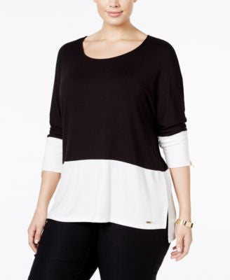 Calvin Klein Plus Size Colorblocked Dolman Top