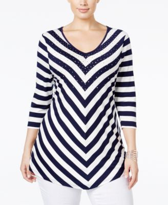 Belldini Plus Size Embellished Striped Top