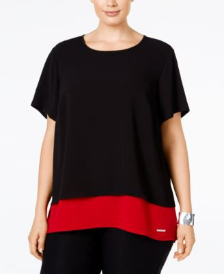 MICHAEL Michael Kors Plus Size Colorblocked Split-Back Top