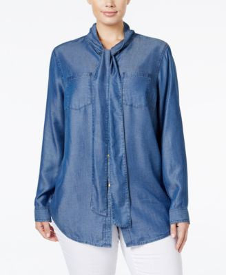 MICHAEL Michael Kors Plus Size Denim Tie-Neck Shirt
