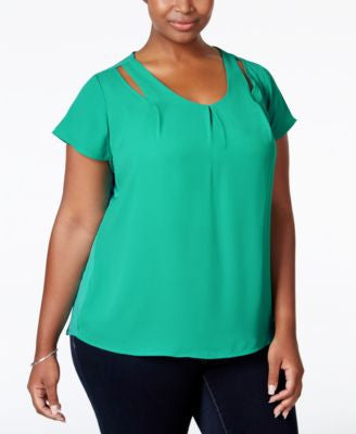 NY Collection Plus Size Keyhole Top