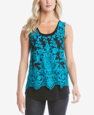 Karen Kane Contrast-Lace Layered-Look Top