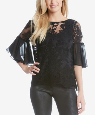 Karen Kane Lace Bell-Sleeve Top