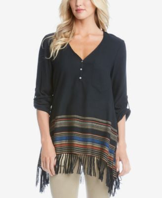 Karen Kane Stripe-Trim Fringe Top