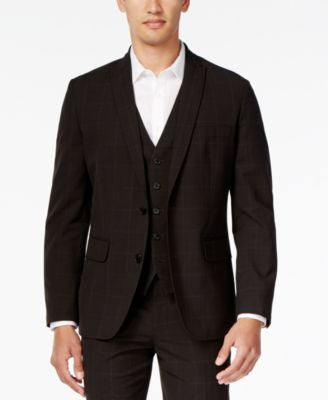 INC International Concepts Men's Classic-Fit Windowpane-Check Blazer, Only at Vogily