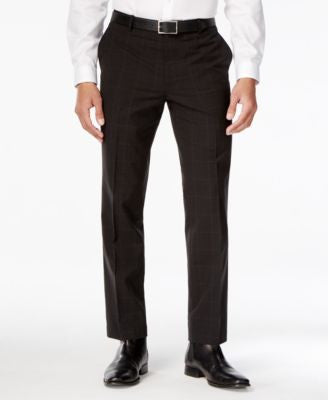 INC International Concepts Men's Classic-Fit Windowpane-Check Dress Pants, Only at Vogily