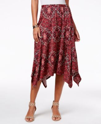 NY Collection Petite Printed Handkerchief-Hem Skirt