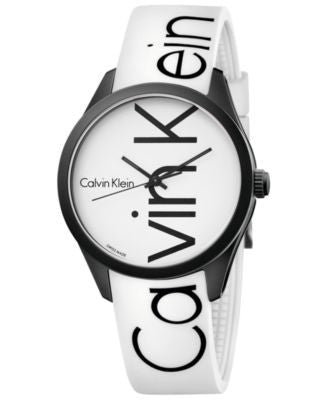 Calvin Klein Men's Color White Silicone Strap Watch 40mm K5E51TK2