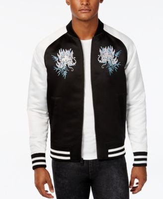 GUESS Men's Floral Embroidered Sateen Varsity Jacket