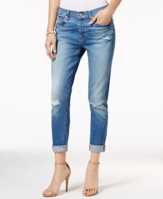 7 For All Mankind Josephina Ripped Straight-Leg Light Laurel Wash Jeans