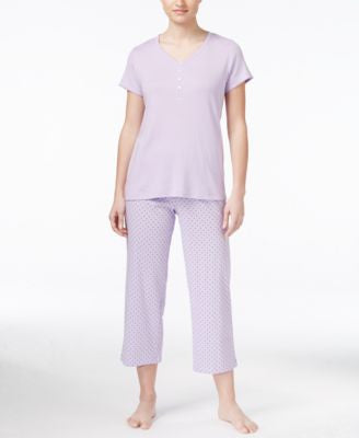 Charter Club Petite Mix It Henley Top and Cropped Pajama Pants Set, Only at Vogily